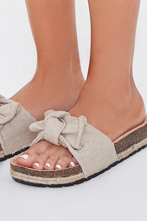 BEIGE Linen Bow Cork Flatform Sandals, image 4