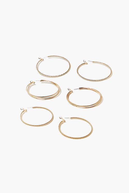 GOLD Twisted Hoop Earring Set, image 1
