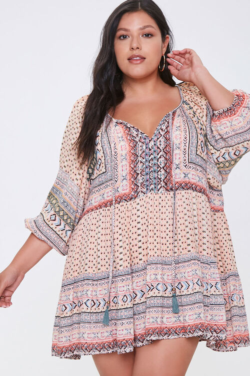 Plus Size Ornate Peasant Tunic, image 1