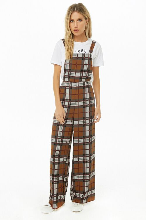 Plaid Print Pinafore Jumpsuit, image 4