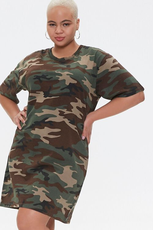 Plus Size Camo T-Shirt Dress, image 1