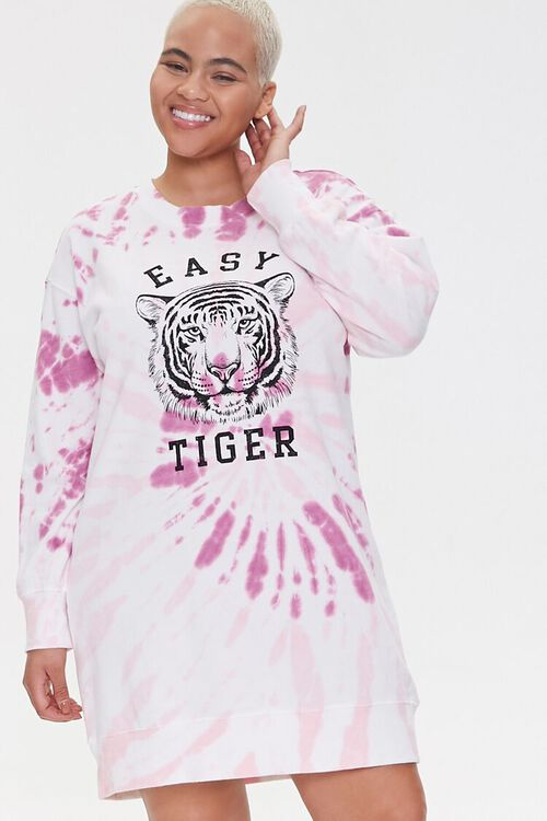 Plus Size Tiger Graphic Sweatshirt Dress, image 1
