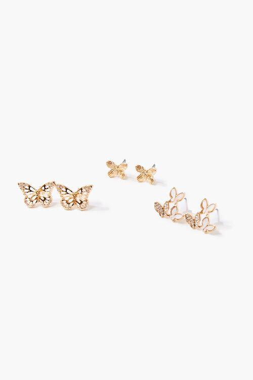 Butterfly Charm Stud Earring Set, image 2