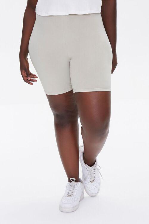 Plus Size Basic Organically Grown Cotton Biker Shorts, image 2