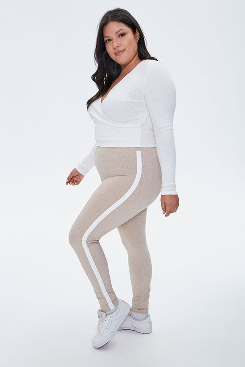 Plus Size Side-Striped Leggings, image 1