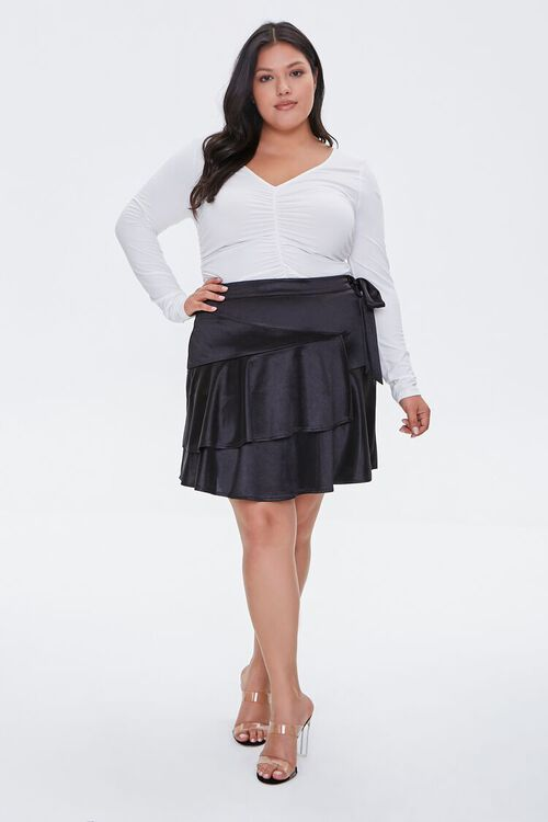 Plus Size Satin Ruffle Mini Skirt, image 5