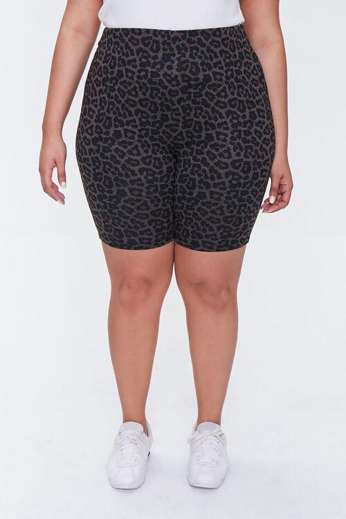 CHARCOAL/BLACK Plus Size Leopard Print Biker Shorts, image 2