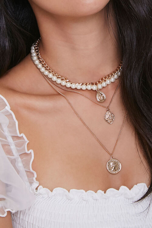 Faux Pearl & Pendant Layered Necklace, image 1