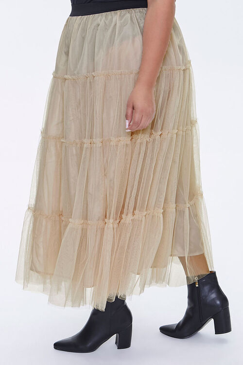 Plus Size Ruffle Mesh Maxi Skirt, image 3