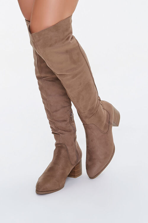 Faux Suede Over-the-Knee Boots, image 1