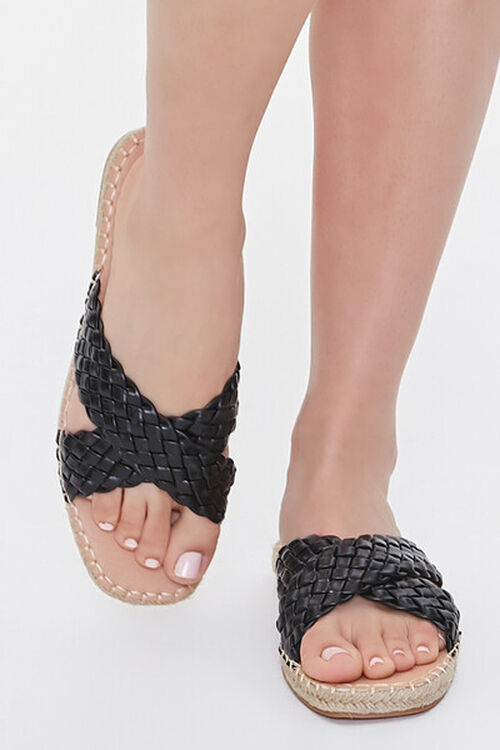 BLACK Crisscross Espadrille Flatform Sandals, image 4