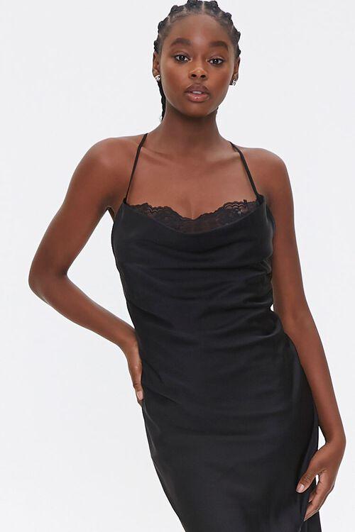 Satin Lace-Trim Side-Slit Dress, image 4