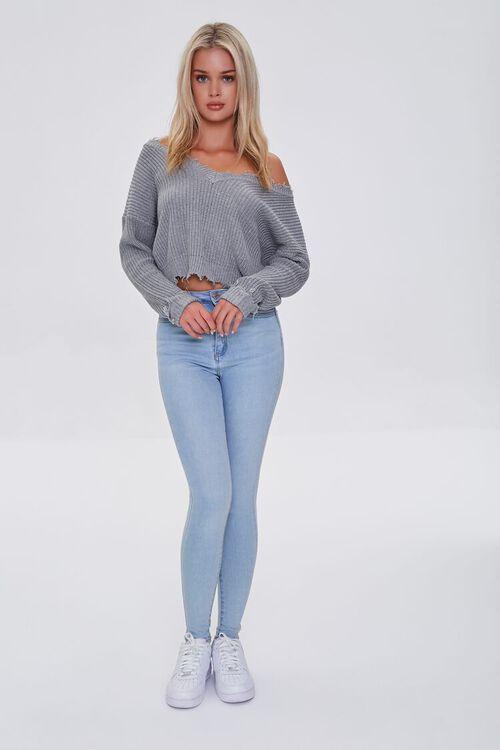 Ribbed Distressed-Trim Sweater, image 4