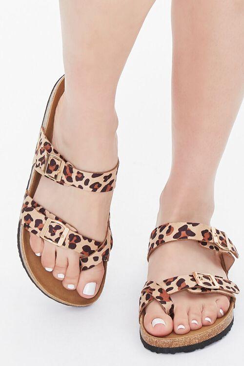 Buckled Leopard Print Flatform Sandals, image 4