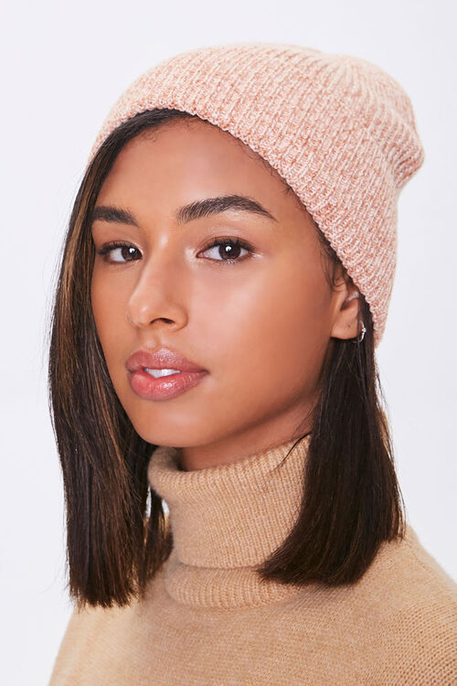 Heathered Ribbed Knit Beanie, image 1
