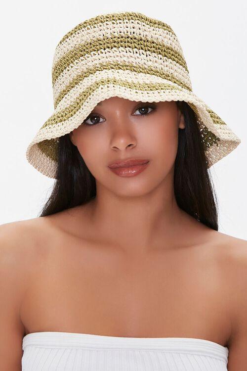 Faux Straw Striped Bucket Hat, image 3