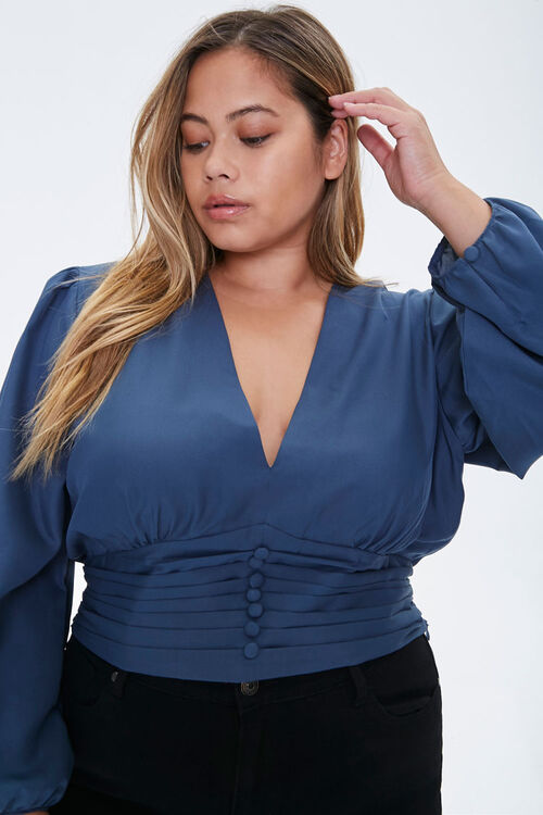Plus Size Pintucked Crepe Top, image 1