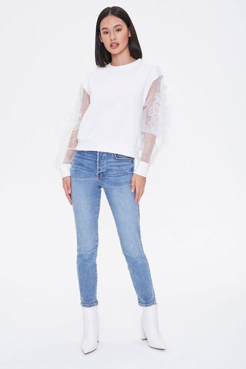 WHITE Ruffled-Sleeve Sweater, image 3