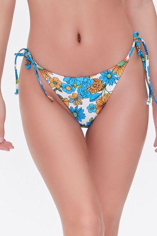 BLUE/MULTI Floral Print String Bikini Bottoms, image 2