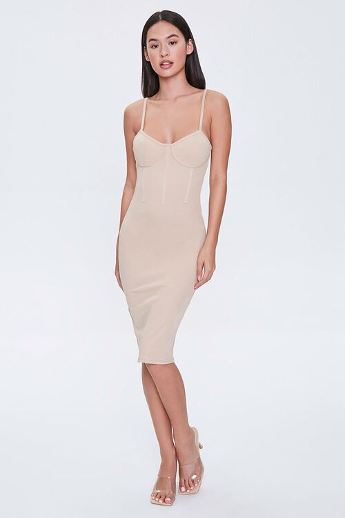 TAUPE Bustier Bodycon Mini Dress, image 4