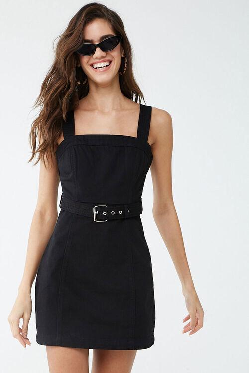 Belted Twill Mini Dress, image 1