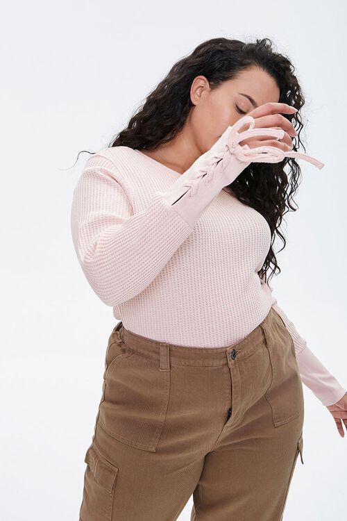 Plus Size Lace-Up Waffle Knit Top, image 1