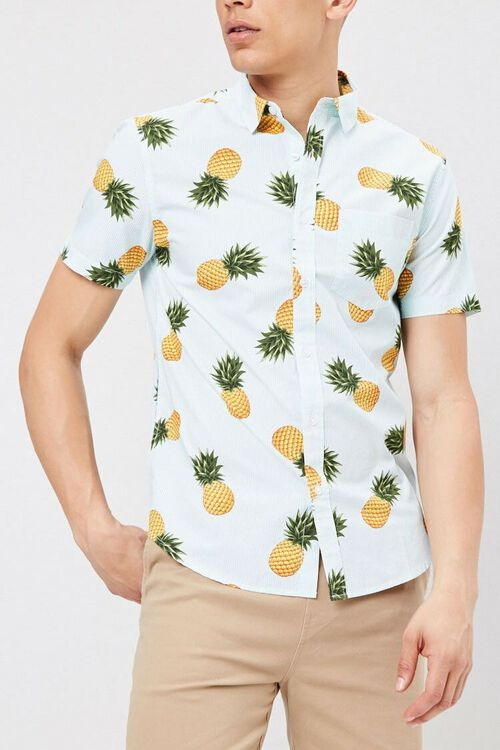 Fitted Pinstriped Tropical Print Shirt, image 5
