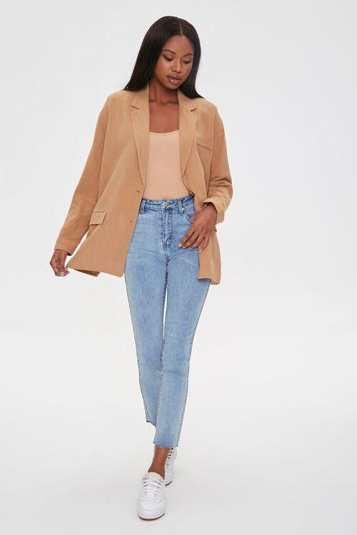 Linen-Blend Button-Front Blazer, image 4