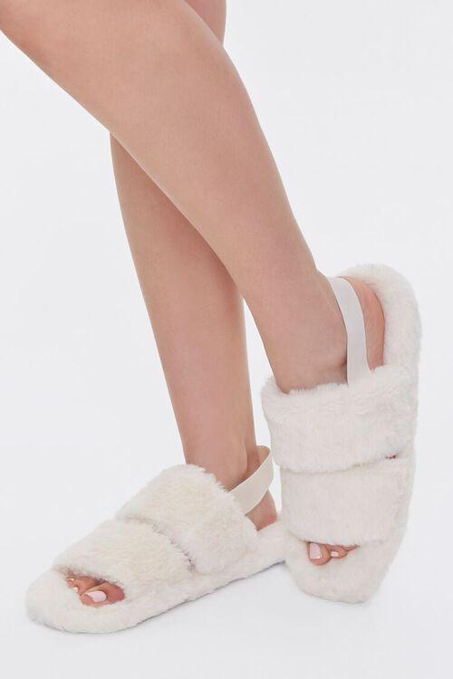 Faux Fur Backstrap Slippers, image 1