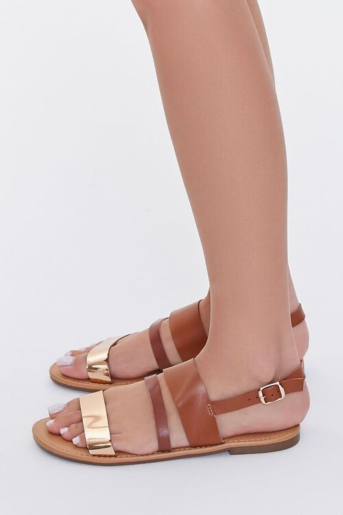 TAN/ROSE GOLD Strappy Faux Leather Sandals, image 2