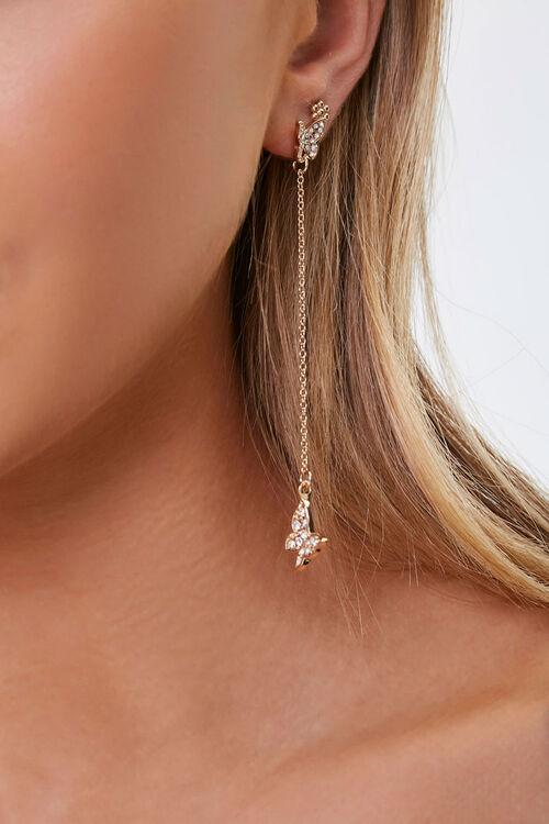 Rhinestone Butterfly Charm Drop Earrings, image 1