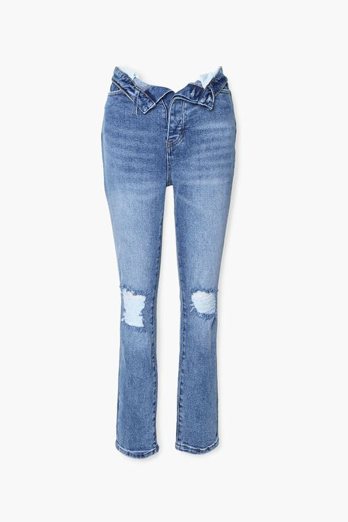 Distressed Foldover Jeans, image 1