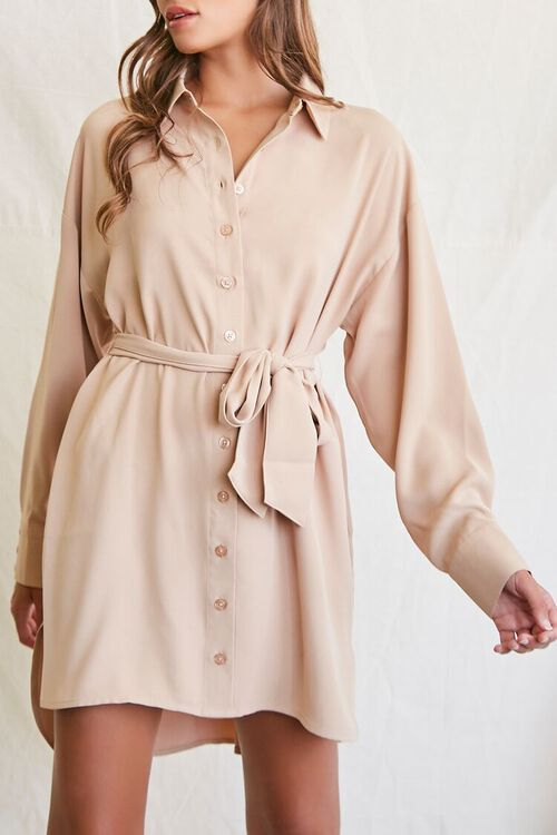 TAUPE Tie-Waist Shirt Dress, image 1