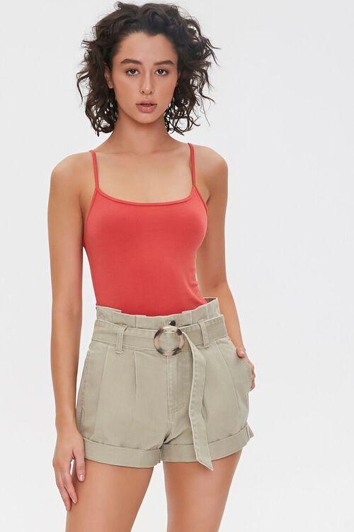 Belted Paperbag Denim Shorts, image 1