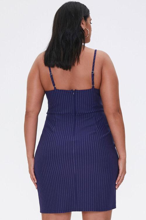 NAVY/CREAM Plus Size Pinstriped Mini Dress, image 3