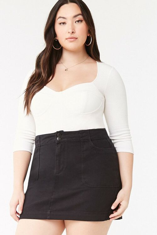 Plus Size A-Line Denim Skirt, image 1