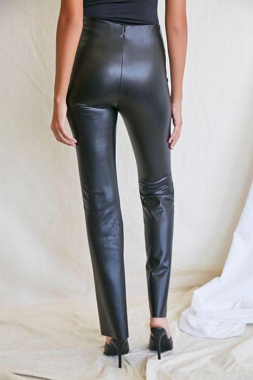 BLACK Faux Leather Flare Pants, image 4