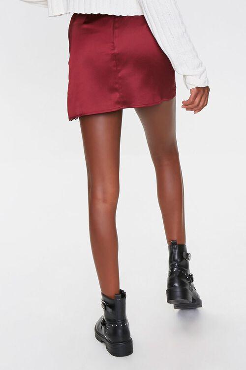 Satin Lace-Trim Mini Skirt, image 4