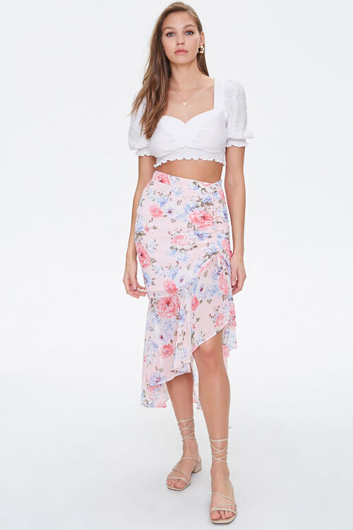 Floral Chiffon High-Low Skirt, image 5