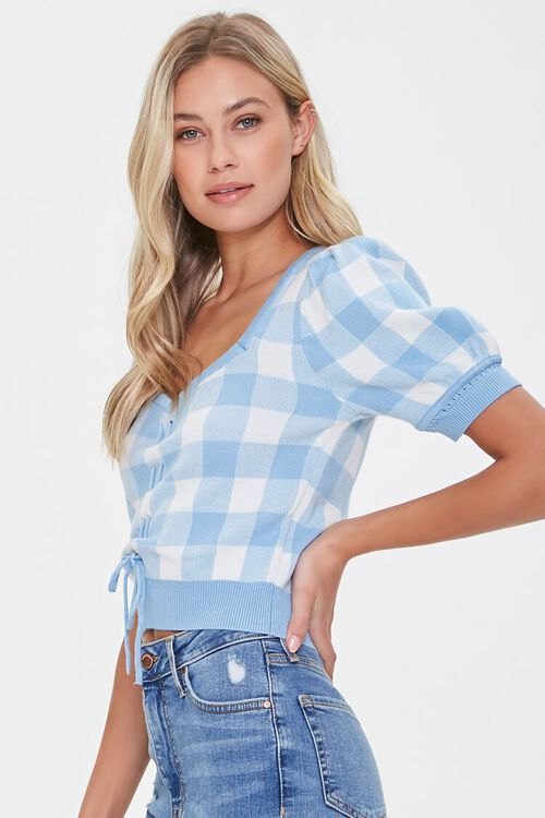 Sweater-Knit Plaid Top, image 2