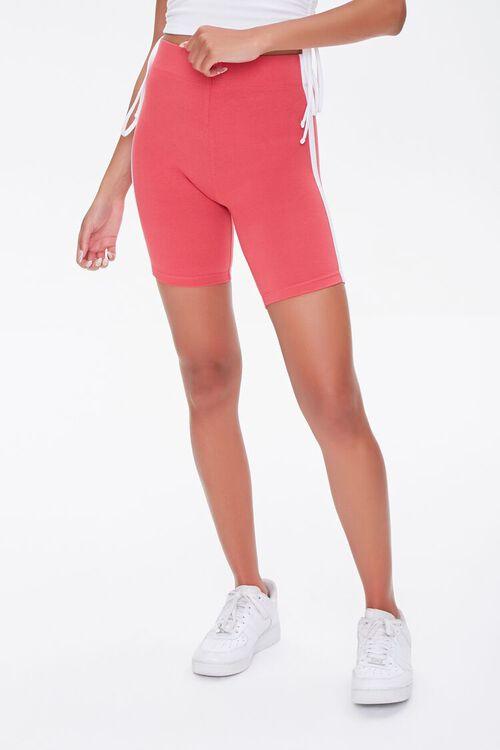 RUST/WHITE Side-Striped Biker Shorts, image 2