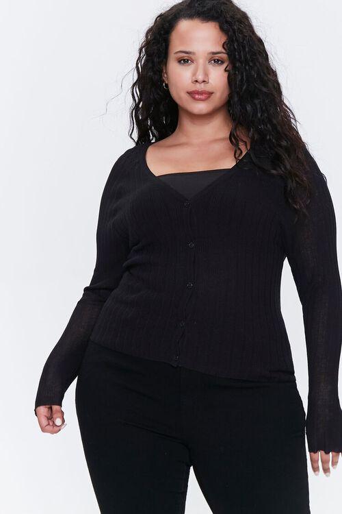 Plus Size Ribbed Cardigan Sweater, image 1