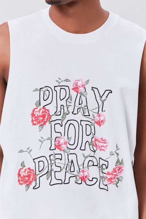 Organically Grown Cotton Pray for Peace Graphic Tank Top, image 5