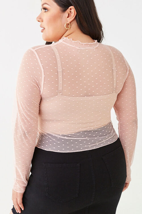Plus Size Sheer Clip Dot Graphic Top, image 3