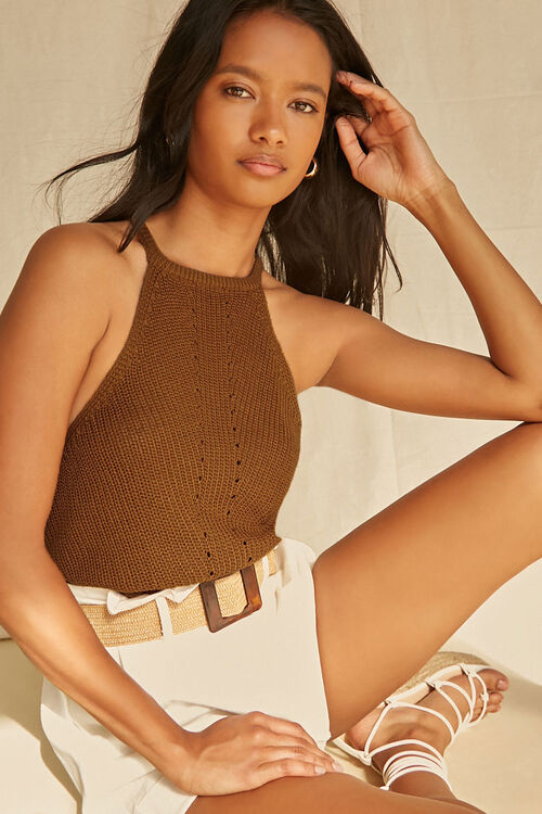 CAMEL Ribbed Sweater-Knit Cami, image 1