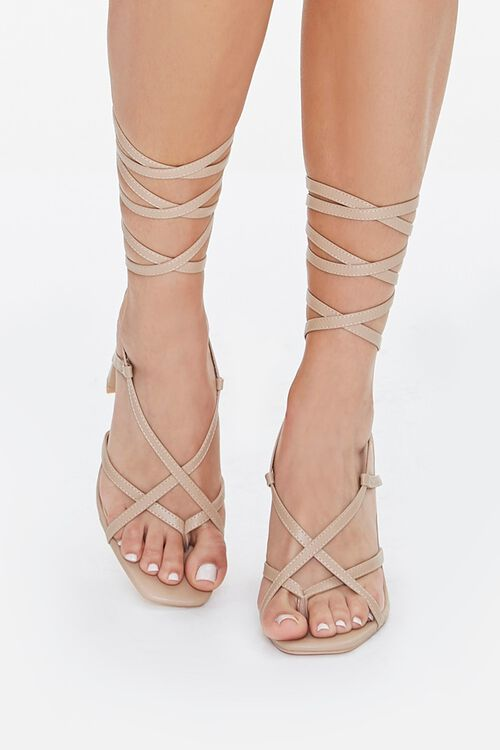 Strappy Lace-Up Block Heels, image 4