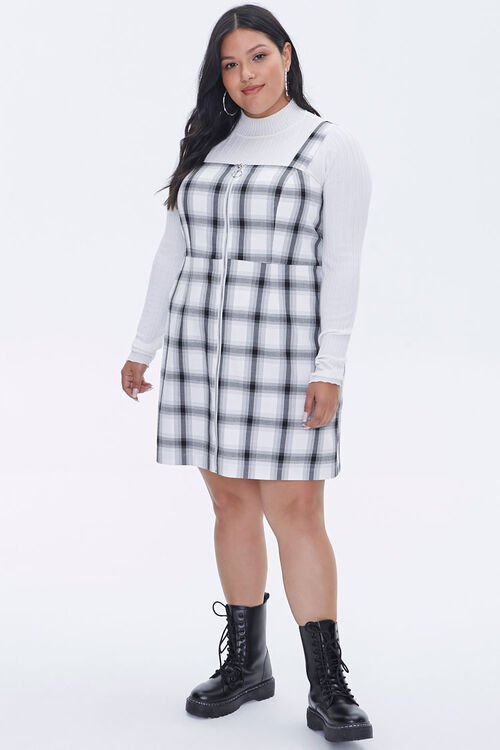 Plus Size Plaid Zippered Overall Dress, image 4