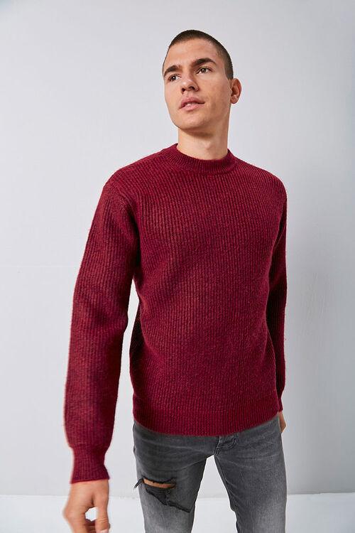 Marled Ribbed Mock Neck Sweater, image 1