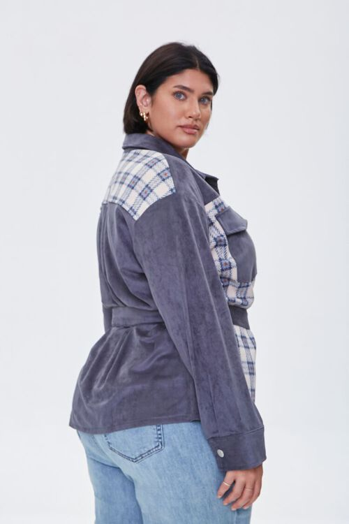 Plus Size Faux Suede & Plaid Jacket, image 2