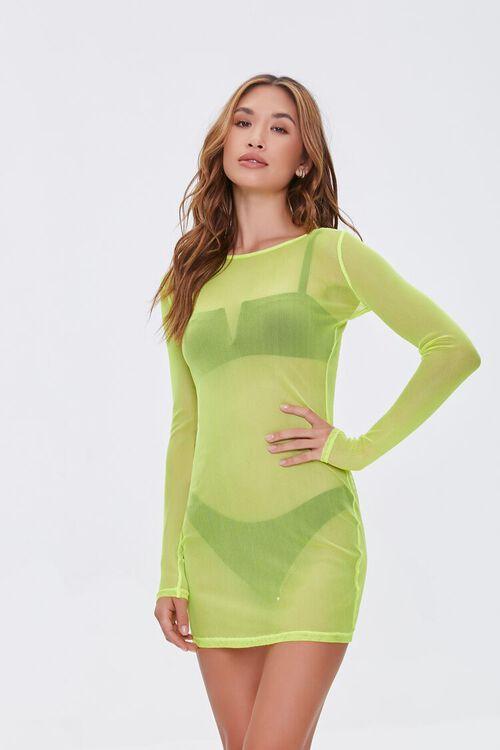 LIME Sheer Swim Cover-Up Mini Dress, image 1